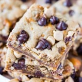 Overhead shot of stacked peanut butter cookie bars
