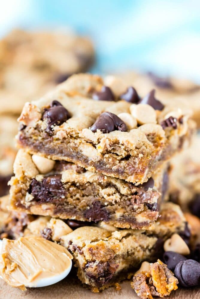 Stack of peanut butter cookie bars