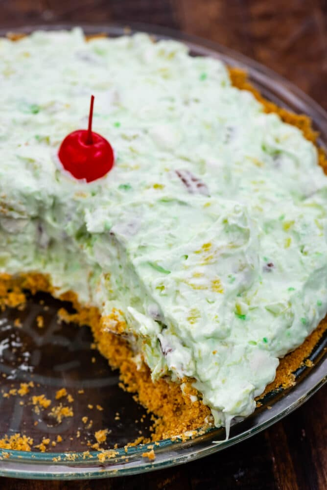 close up of pie with pistachio pudding filling