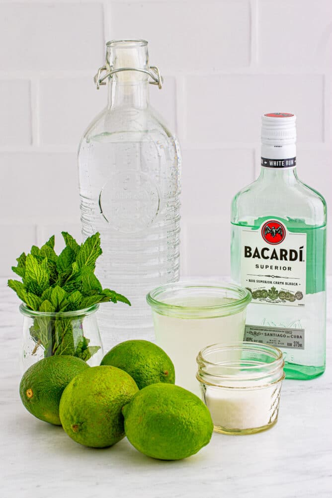 All the ingredients needed to make pitcher mojitos