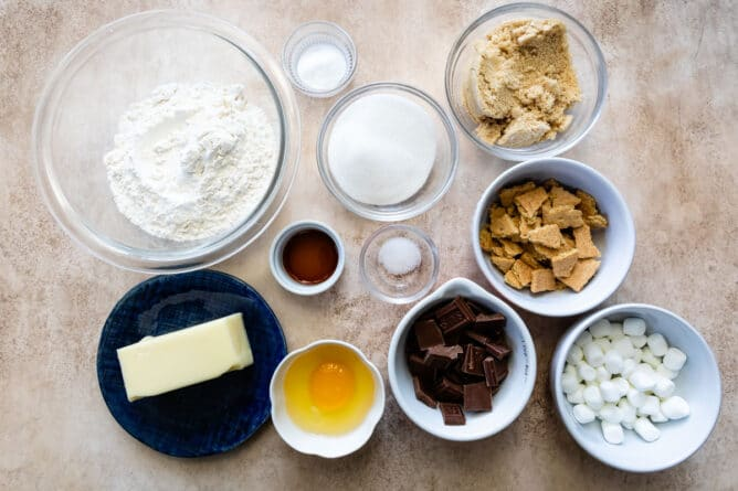 Overhead shot of all the measured ingredients needed to make s'mores cookies