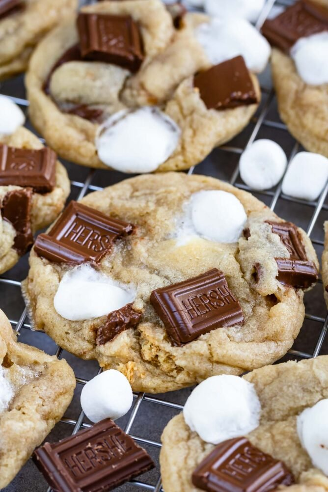 Close up shot of s'mores cookies on a metal cooling rack