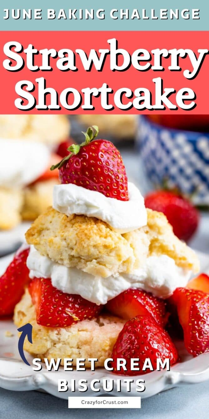 strawberry shortcake with biscuits on white plate and words on photo