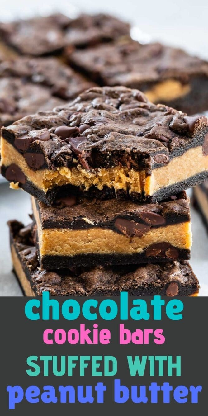Stack of peanut butter stuffed chocolate cookie bars with the top bar missing one bite and recipe title on bottom of image