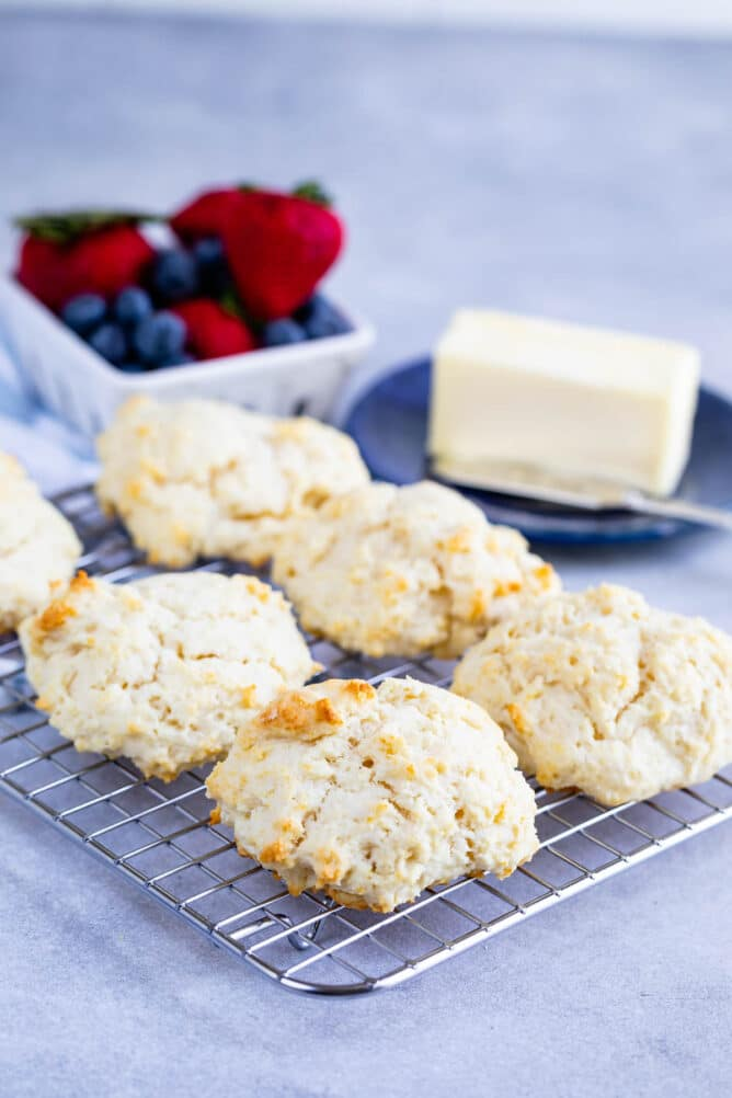 biscuits on rack with butter behind