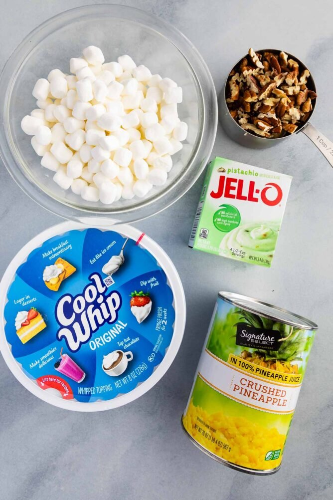 ingredients in Watergate salad photo: marshmallows, nuts, cool whip, pudding box, pineapple can