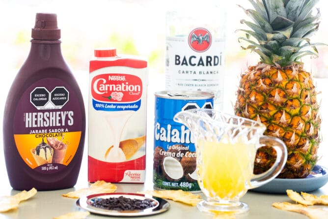 All the ingredients needed to make a Chocolate Colada