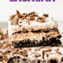 One piece of chocolate lasagna on spatula above the whole dessert with recipe title on top of image