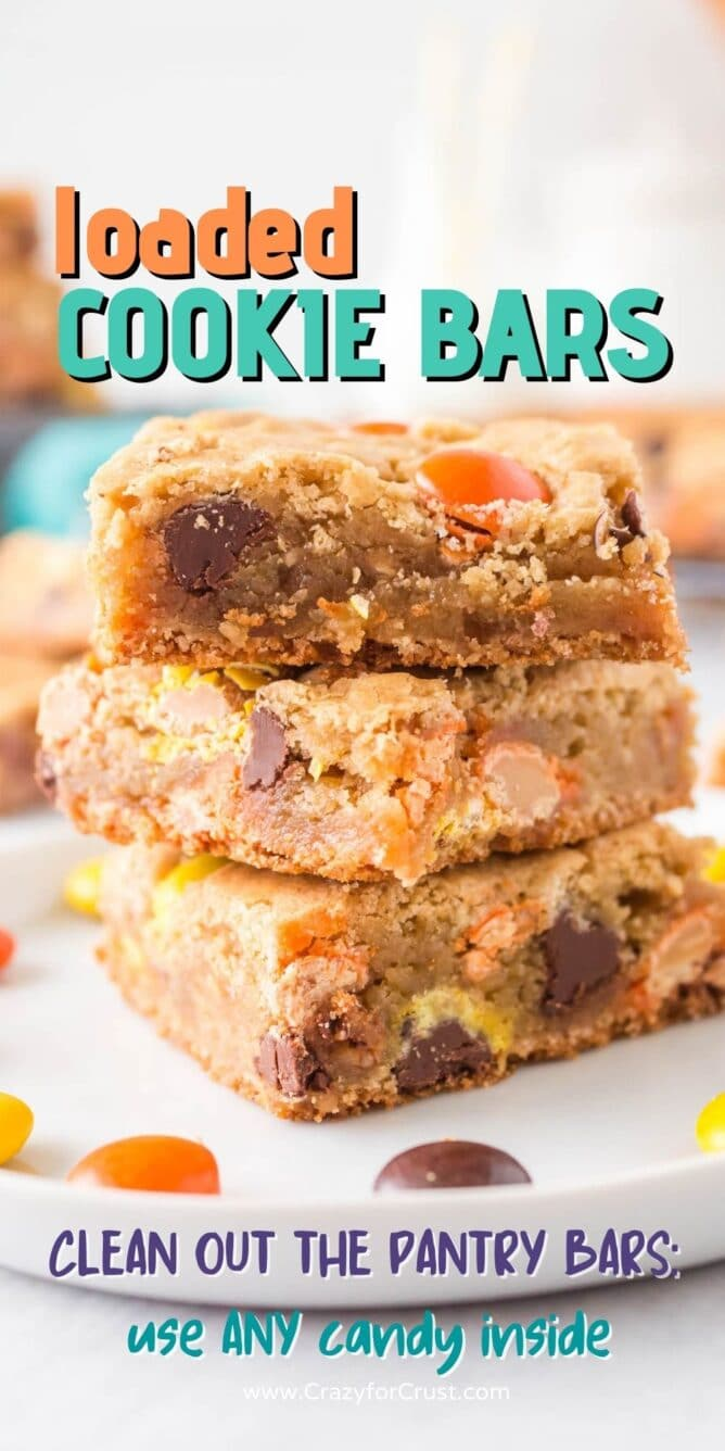 Three loaded cookie bars with recipe title on top of image