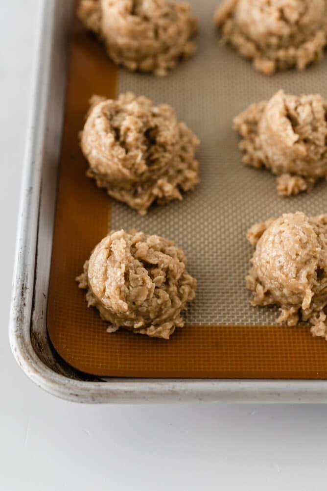No bake peanut butter cookies on a sheet pan