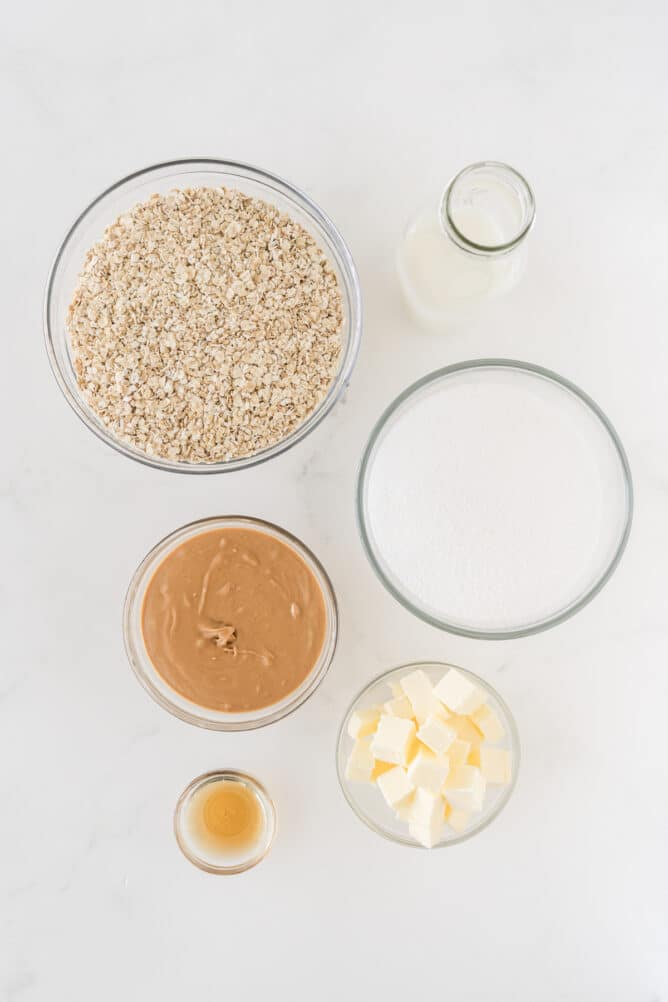 Overhead shot of all measured ingredients needed to make peanut butter no bake cookies