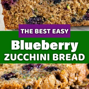 2 photos of blueberry zucchini bread with words between photos