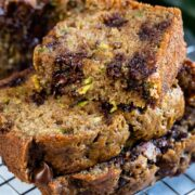 stack of slices of chocolate chip zucchini bread with one slice cut in half