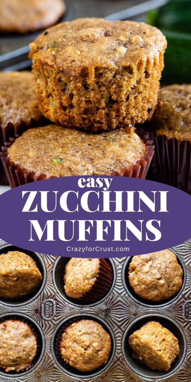 Zucchini Muffins collage with recipe title in the middle of two photos