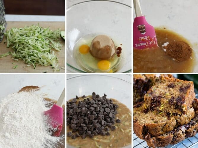 collage of 6 photos showing how to make zucchini bread