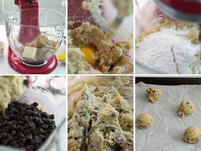 6 photos showing step by step how to make toll house cookies