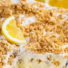 sliced lemon dessert in pan with words