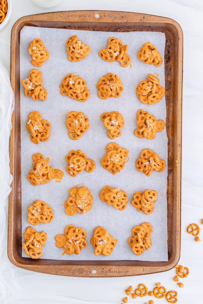 Overhead shot of no bake pretzel cookies on a sheet pan