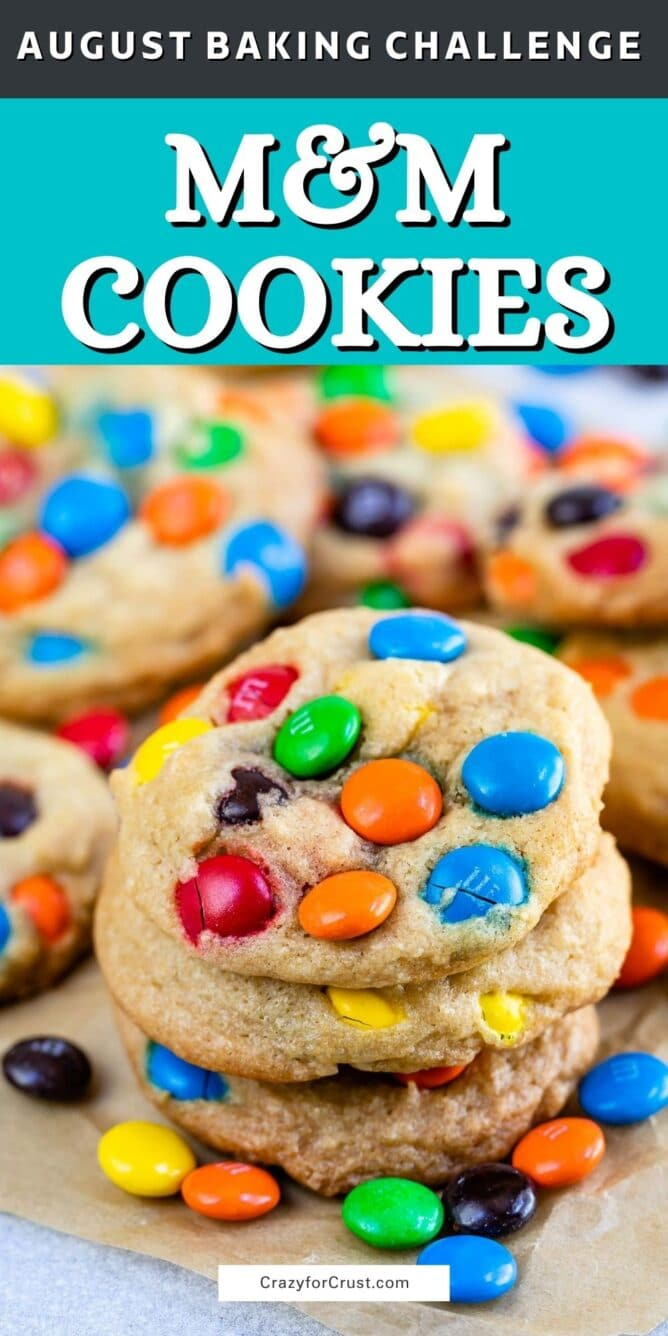stack of M&M cookies with words on photo