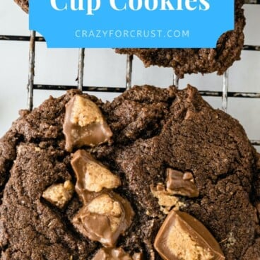 Overhead shot of soft chocolate peanut butter cup cookies with recipe title on top of image