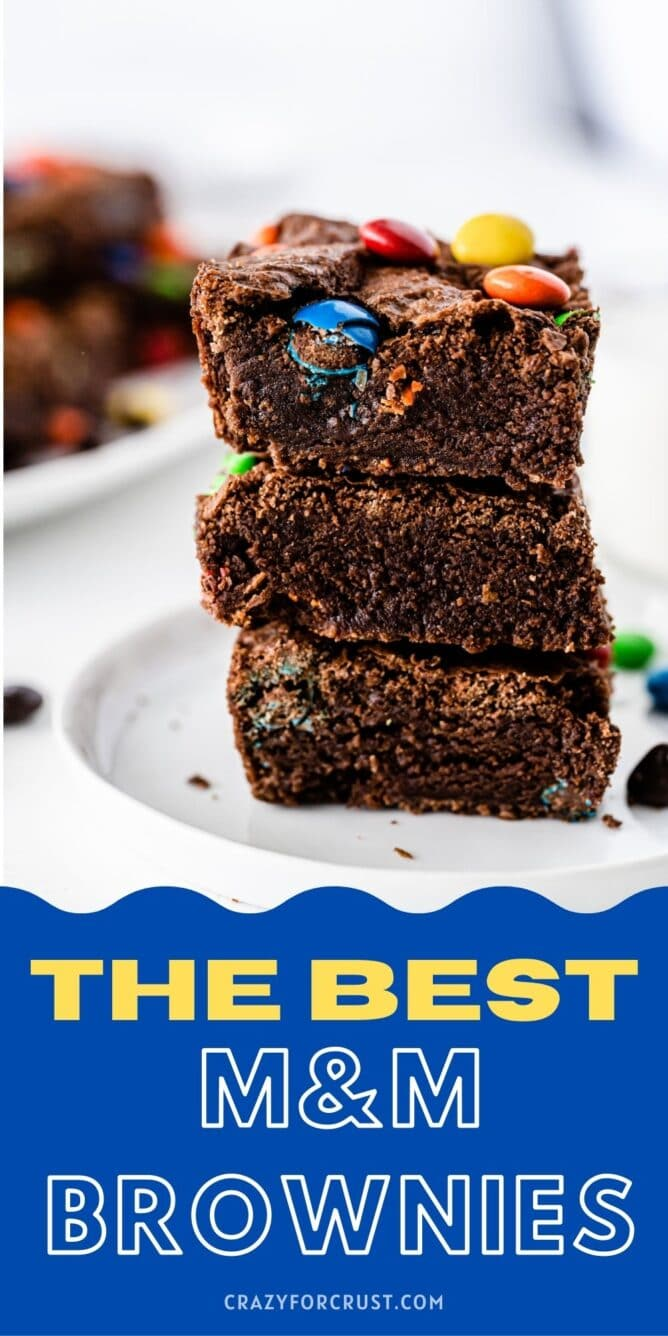 stack of 3 brownies on white plate