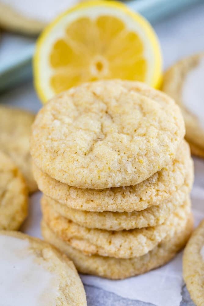 Stack of five lemon cookies