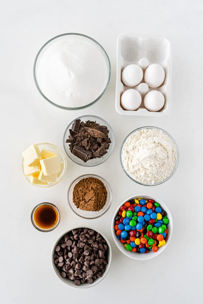 Overhead shot of all the ingredients needed to make M&M Brownies