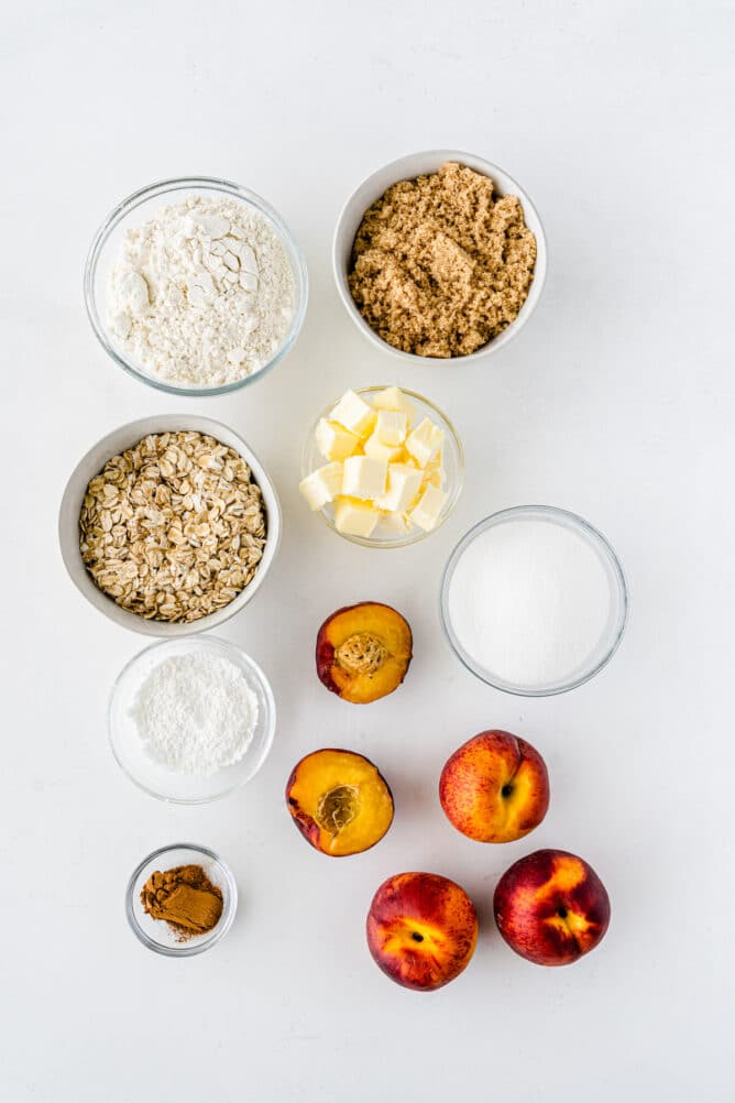 Overhead shot of all ingredients needed to make peach crisp