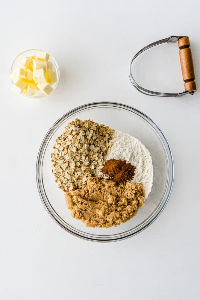Overhead shot of ingredients for the oat topping