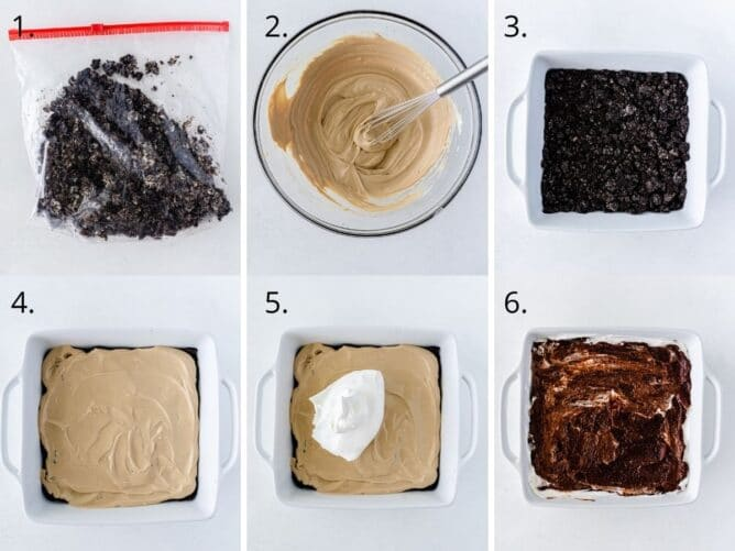 6 photos showing how to make mocha mud pie