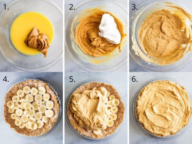Overhead process shot showing the 6 steps to make no bake peanut butter banana cream pie