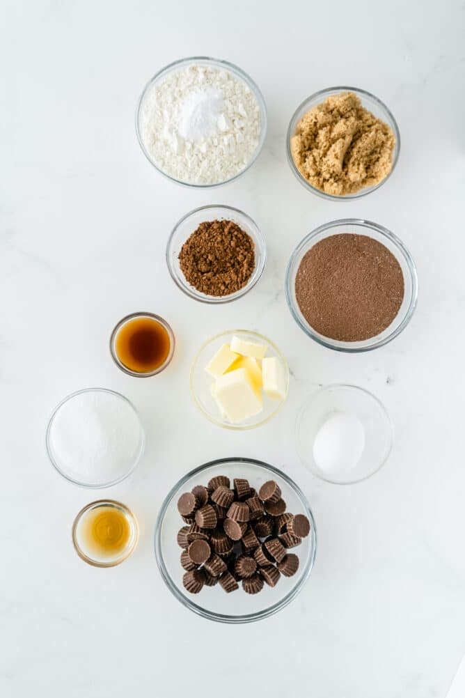 Overhead shot of all ingredients measured out to make soft chocolate peanut butter cup cookies
