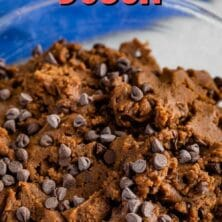 Large mixing bowl of double chocolate chip edible cookie dough with recipe title on the top of image