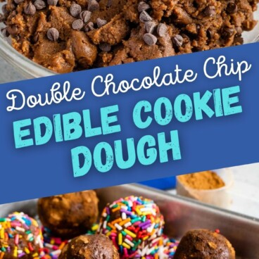 Collage of double chocolate chip edible cookie dough with recipe title in the middle of photos