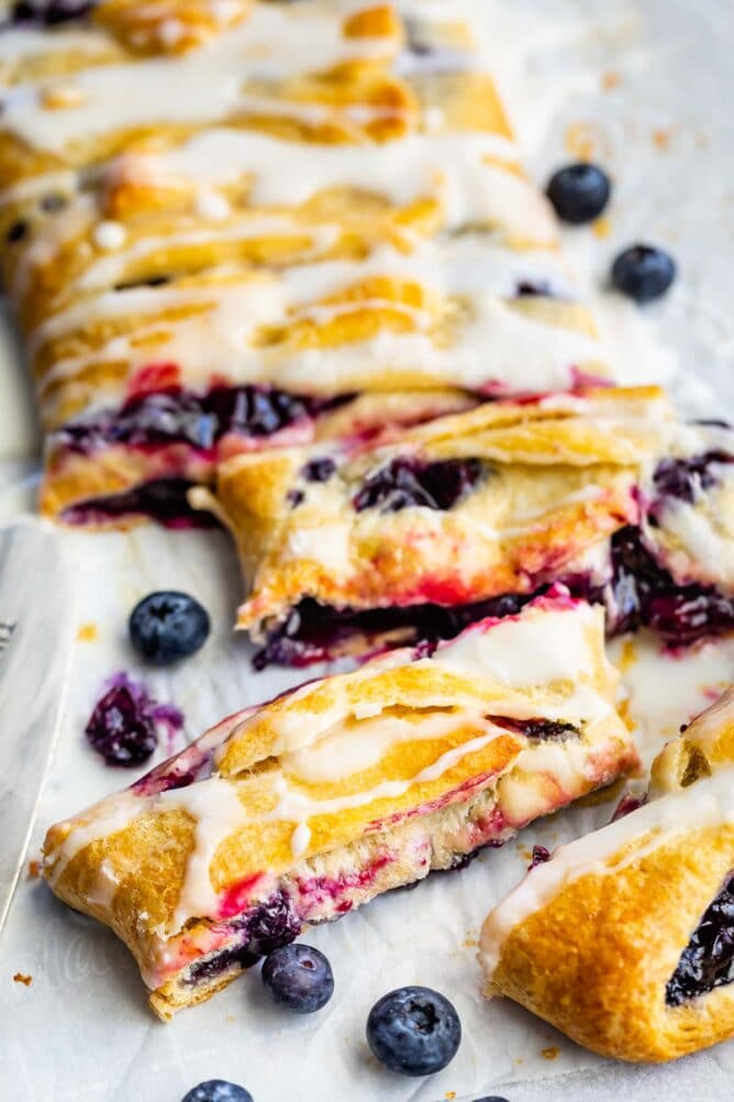 Overhead view of easy blueberry danish with pieces cut