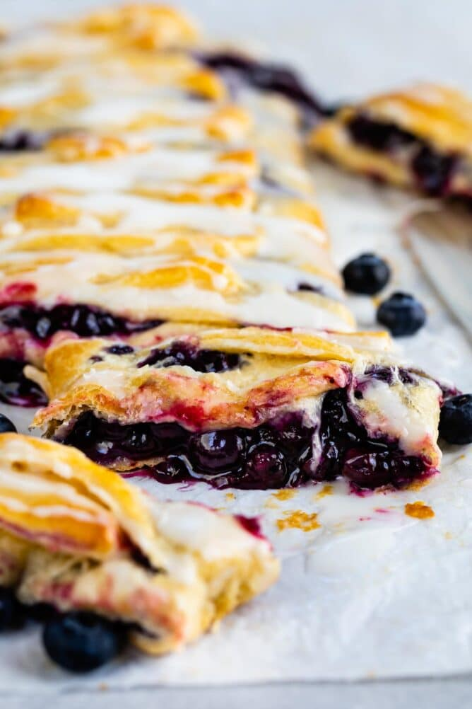 Close up of easy blueberry danish showing inside blueberry filling