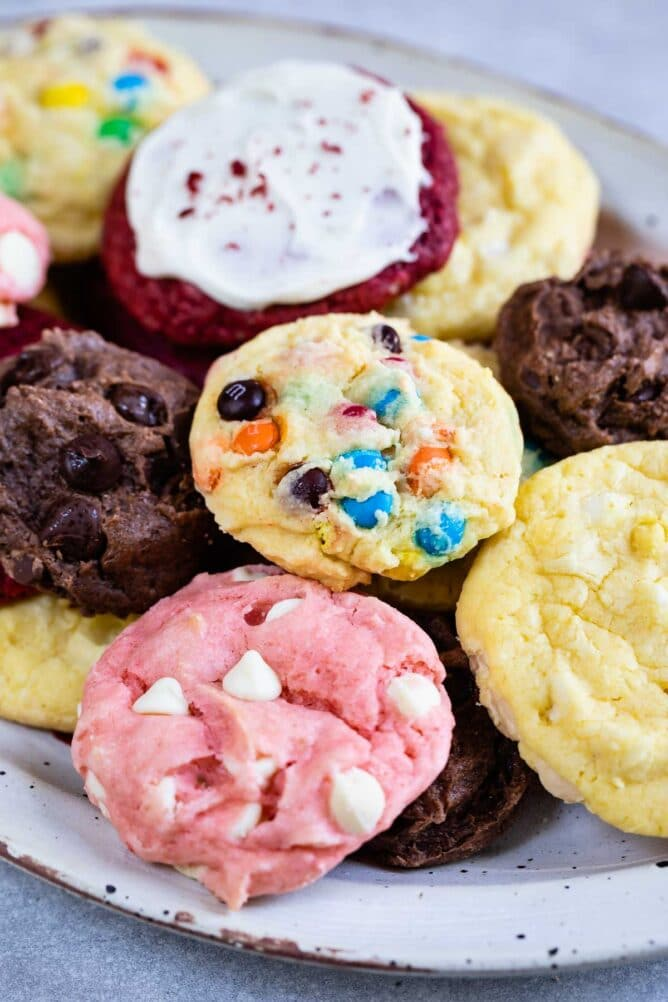 Close up shot of cake mix cookies on a plate