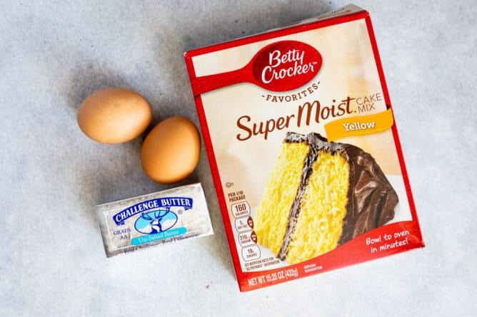 Overhead shot of ingredients needed to make cake mix cookies
