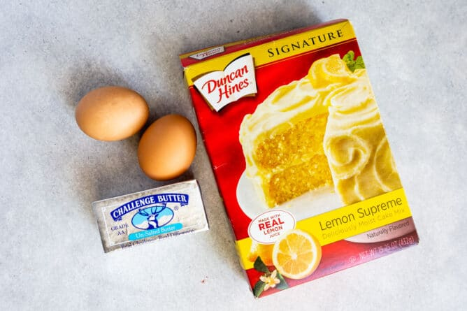 Overhead shot of all ingredients needed for lemon white chocolate cake mix cookies