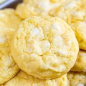 Close up of lemon white chocolate cake mix cookies