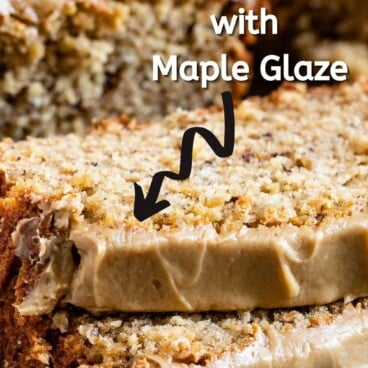 Two slices of peanut butter banana loaf bread topped with maple glaze with recipe title on top of image