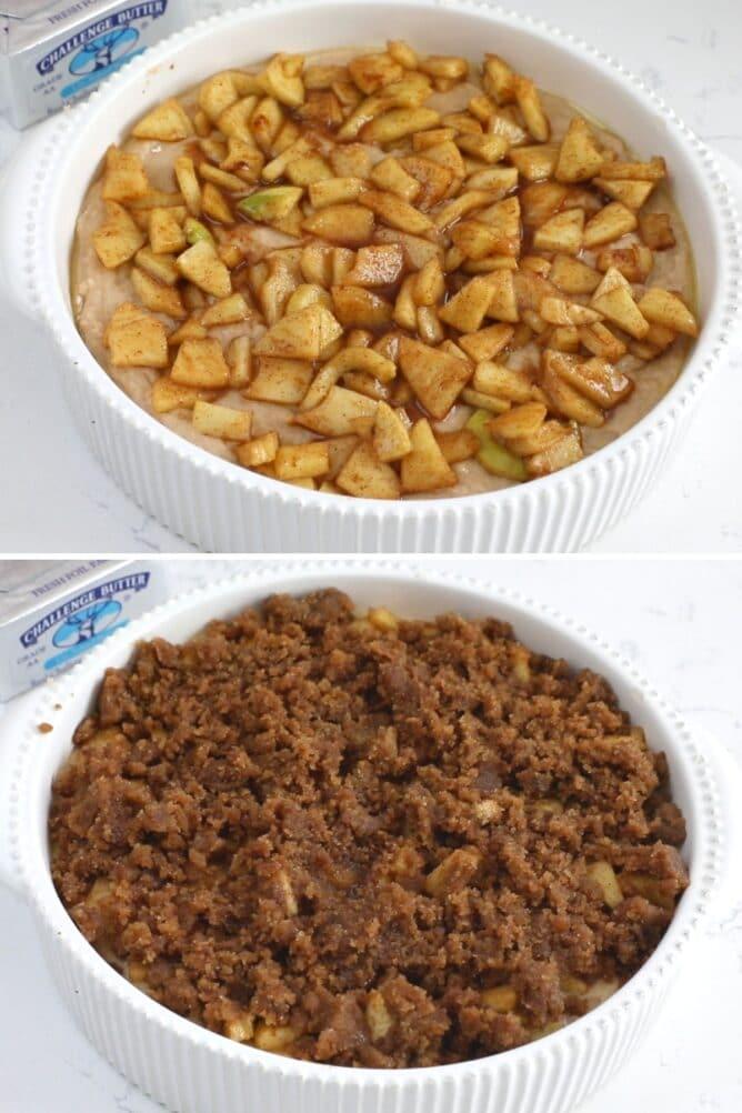 2 photos of cake batter in pan