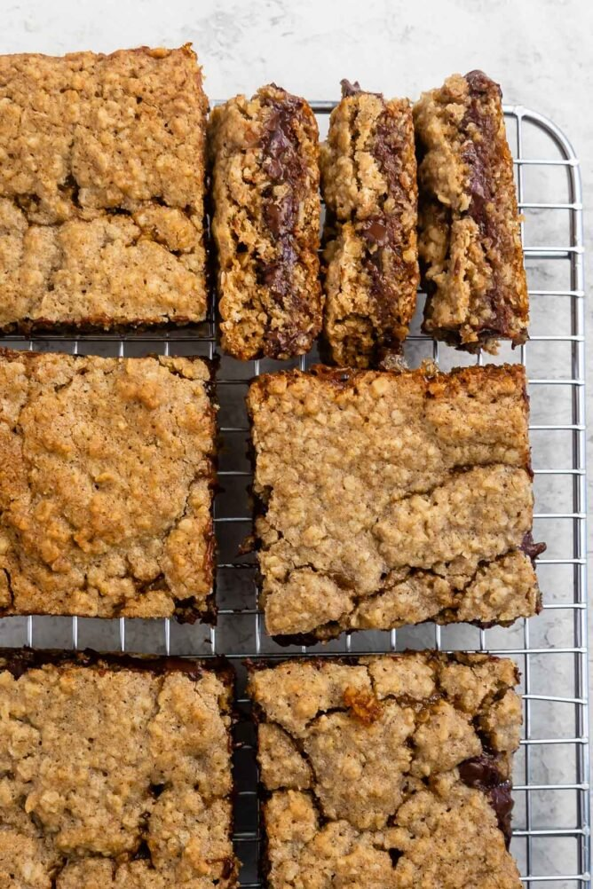 Overhead shot of carmelita squares on a wire cooling rack