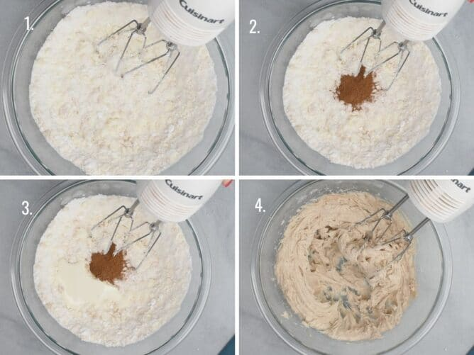 4 photos showing how to make pumpkin spice frosting