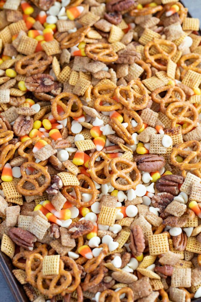 Overhead shot of easy pumpkin spice chex mix