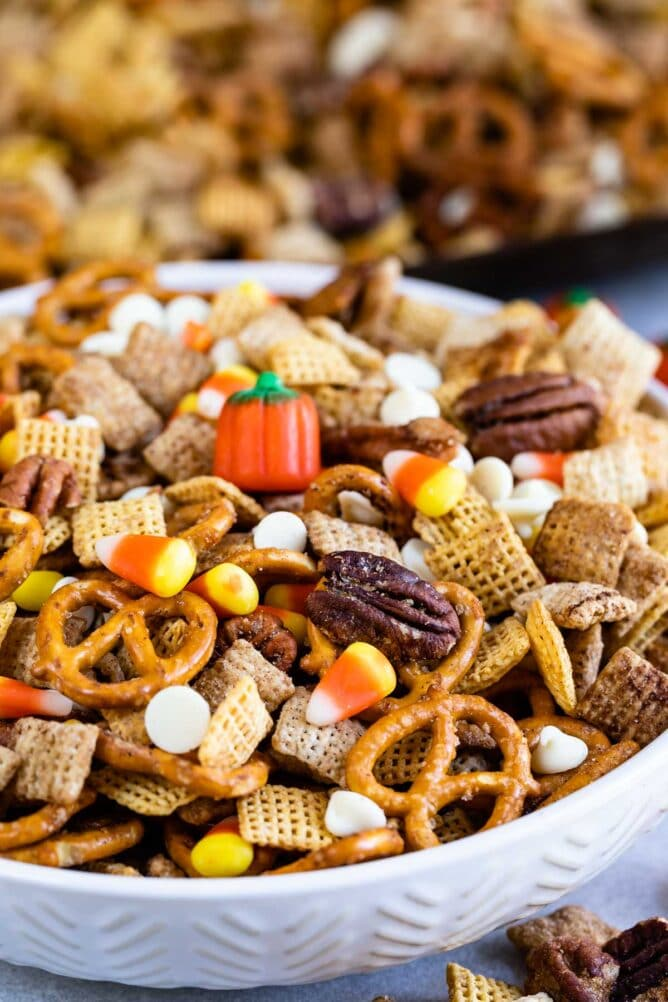 Large bowl of easy pumpkin spice chex mix