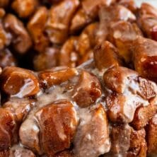 Pumpkin spice monkey bread with recipe title on top of image