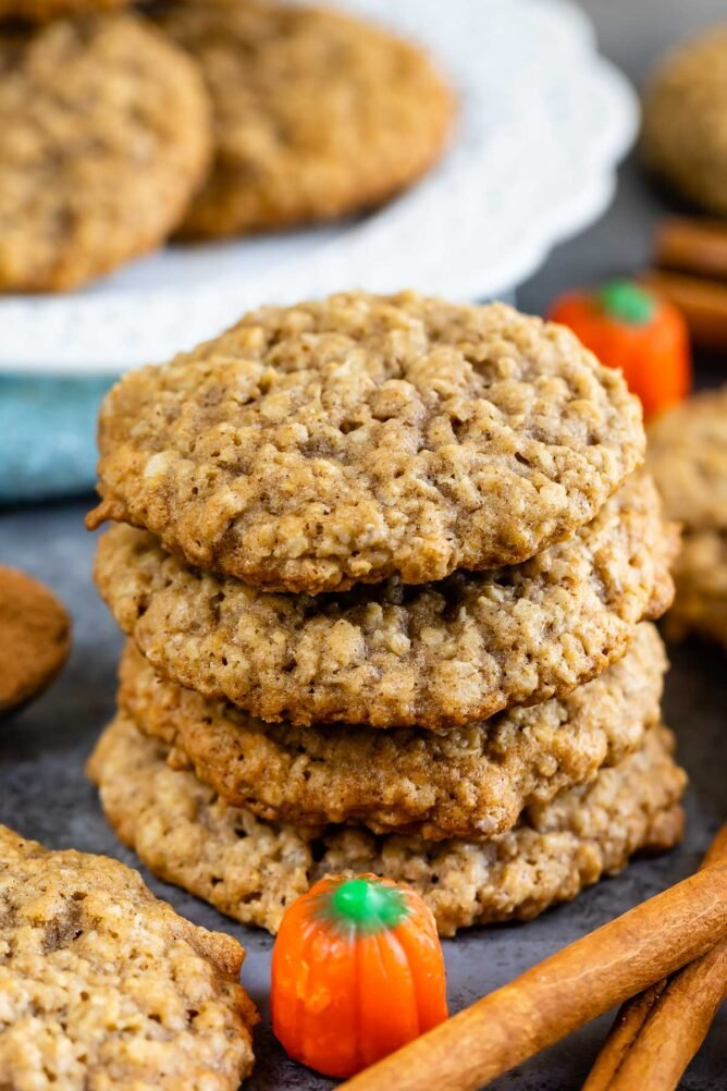 Stack of pumpkin spice oatmeal cookies
