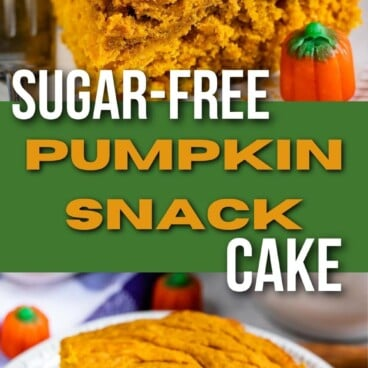 Photo collage of pumpkin snack cake with recipe title in the middle of two photos