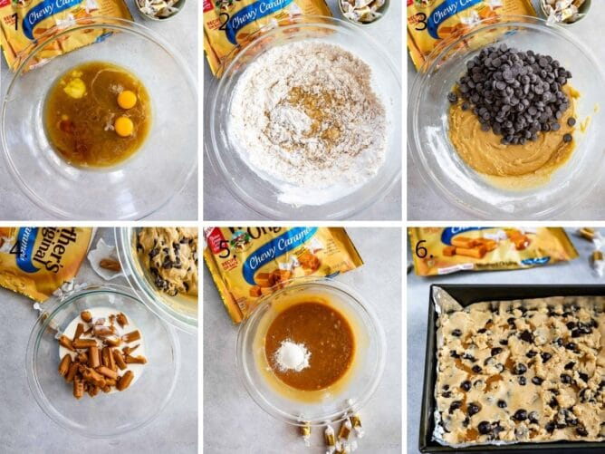 Overhead shot of six photos showing the process of making caramel chocolate chip cookie bars
